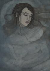 """Ilustración de interior para el poemario """"Las cántigas, je suis le diable""""."""